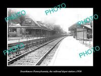 OLD LARGE HISTORIC PHOTO OF SWARTHMORE PENNSYLVANIA, THE RAILROAD STATION c1930