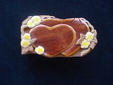 Wood Hand Carved Heart Flowers 2 Tone Puzzle Box - Hawaiian Floral