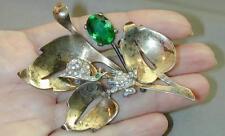Frog & Snail On Leaves Rare Vintage Sterling Rhinestone Jolie Pin