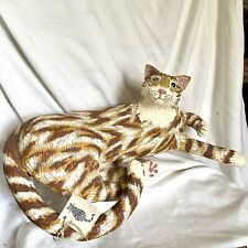 "Life-Size Paper Mache GINGER CAT Signed Dated Lindsey Byers ~ 22"" Front To Back"
