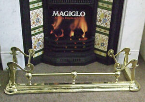 Impressive Original Victorian Antique Brass Fireplace Kerb Fender