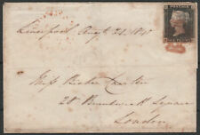 1840 SG2 1d BLACK PLATE 7 ON COVER LIVERPOOL TO LONDON 4 MARGINS RED CROSS (FC)
