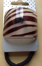Marron imprimé zèbre courbe queue de cheval bande/cheveux pompon