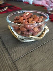 NEW Pottery Barn Faux Antler & Glass Snack Bowl Thanksgiving Fall Christmas NWT