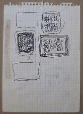 Massimo CAMPIGLI Disegno a pennarello Studi per dipinti cm 17x12 ARCHIVIATO 1967