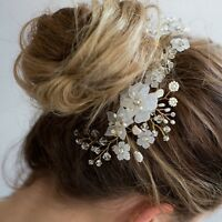 Wedding Bridal Handmade Flower Hair Comb White Pearl Bead Hair Piece Headdress