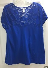 ambiance apparel Plus Size 2X French Blue lace shoulder/back Stretch Blouse Top