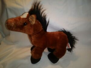 "GANZ Webkinz 10"" Brown Arabian Horse HM101 Plush Stuffed Animal EUC"