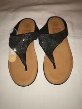 128802abe FitFlop Banda Glitz Toe Thong Sandal Black Leather Glitter Comfort 7 EU 38