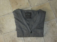 MENS AllSaints Anton GREY STRIPED KNITTED Metal Fibre JUMPER CARDIGAN SZ S SMALL