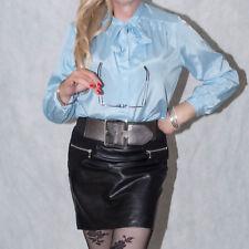 "Vintage 80s Sexy Secretary Blue Satin Tie Neck Shirt Blouse Size 20 UK 48"" Bust"