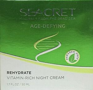 Seacret Age-defying Rehydrate Vitamin Rich Night Cream 1.7 Oz Dead Sea Minerals