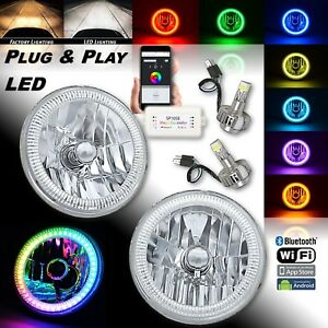 "7"" Bluetooth RGB SMD Color Chasing H4 Halo Headlight w/ 360° LED Lamp Bulb PAIR"