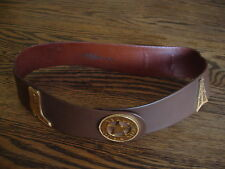 RARE VINTAGE NEIMAN MARCUS Ben King Dallas TX Oil well Leather Belt SMALL BROWN