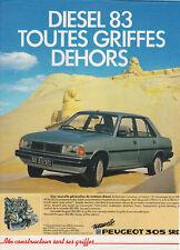 Publicité ancienne voiture Peugeot 305 SDR 1982 issue de magazine