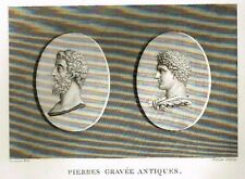 "Mongey's ""GALLERIE DE FLORENCE"" -1819- Copper Engraving - BUSTS of GREEK GODS"