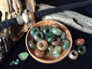 Indian Agate Dread Beads 5mm Hole Set of 3 Dreadlocks Crystal Gemstone Bracelets