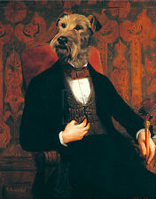 AIREDALE IRISH LAKELAND TERRIER COMIC DRESSED DOG FINE ART PRINT PORTRAIT  Small