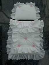 Dolls/Toy Pram set to fit oberon silver cross - white with pink SPARKLE  bows