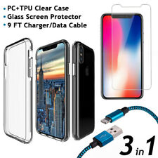 iPhone X Clear PC+TPU Case + Glass Screen Protector +9FT Charger/Data Cable 3in1