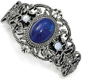 1928 Jewelry - Silver-tone Blue Acrylic & Blue Crystal Ponytail Holder