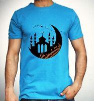 Islamic T-Shirt Alhamdulillah Thank God Arabic Mosque Moon Eid Muslim Top Mens