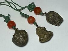 Antique Chinese Sterling Silver Repousse Chime Rattle Bead Carnelian Accents