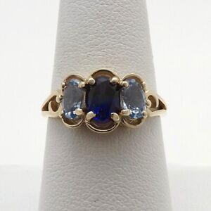 14k Gold DQ Diamonique 3 Stone Oval Sapphire Topaz Birthstone Ring sz8 New