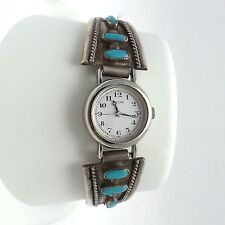Navajo Victor Moses Begay Sterling Silver Turquoise Pulsar Watch Cuff Stretch