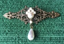 Vintage Victorian Style Pin Brooch Jewelry Faux Pearl Hearts Unsigned