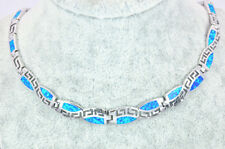 Blue Fire Opal Geometric Choker Necklace