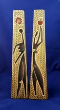 SET OF 2 HAND CARVED AND HAND PAINTED WOODEN VASES - EXCELLENT CONDITION