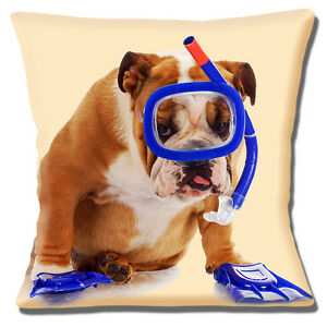 """English Bulldog Adult Wearing Snorkel and Flippers 16""""x16"""" 40cm Cushion Cover"""