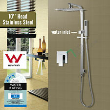 2 In 1 10'' Square Twin Shower Head Handheld Diverter on Sliding Rail Mixer Tap