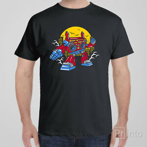 Funny graphic T-shirt BOOMBOX Robot transformer music 80s