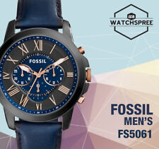 Fossil Grant Chronograph Navy Leather Watch FS5061