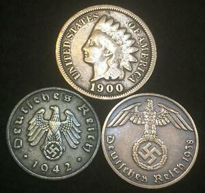 WW2 German Coins and Indian Head Cent Authentic Historical Artifacts