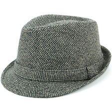 Trilby Hat Fedora Cap GREY Hawkins Waffle Mens Ladies Unisex Brim