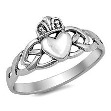 .925 Sterling Silver Ring size 8 Celtic Heart Irish Claddagh Midi Ladies New p77