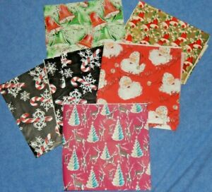 Mixed Lot Vintage Christmas Wrapping Paper Remnants 6 Pieces 1960's?