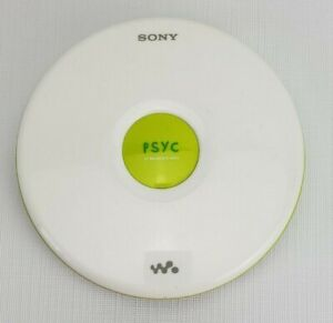 SONY ~ PSYC CD Player Walkman D-EJ010 ~ Tested/works White/Neon Yellow