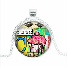 Cute Cupcake Collage Tibet silver Glass dome Necklace chain Pendant Wholesale