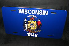 WISCONSIN STATE FLAG METAL LICENSE PLATE TAG FOR CARS