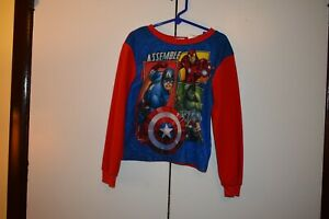 BOYS PAJAMA TOP MARVEL AVENGERS SIZE 6/7 SOFT POLYESTER FLAME RESISTANT SIZE 6-7