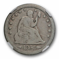 1855 S 25c Seated Liberty Quarter NGC VG 8 Very Good Better Date San Francisc...