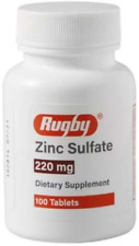 Rugby Zinc Sulfate 220mg Tablets Supplement 100 Count Bottle