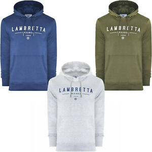 Lambretta Mens Classic Large Logo Casual Hooded Pullover Hoodie Jumper