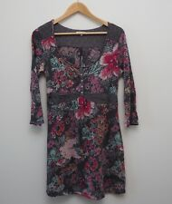 White Stuff tunic top size 14 grey pink floral flowers three quarter sleeves