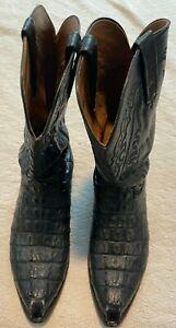 Lucchese 2000 Mens Black Alligator Cowboy Boots - Size 12D