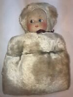 Vtg 1940-50's Faux Winter White Fur Clothe Face Doll Child's Hand Warmer Muff